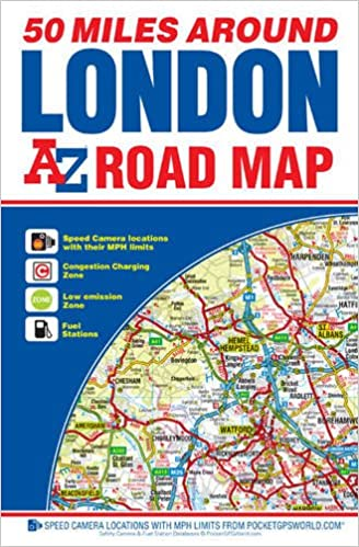 Map Around London.50 Miles Around London Road Map A Z Road Map Amazon Co Uk