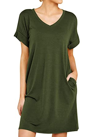 Miholl Summer T Shirt Dresses Casual Short Sleeve V Neck Dress With Pockets by Miholl
