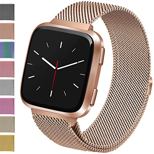 Vancle For Fitbit Versa Bands, Stainless Steel Milanese Mesh Loop Metal Replacement Wristbands with Magnet Lock for Fitbit Versa (Rose Gold, Small)