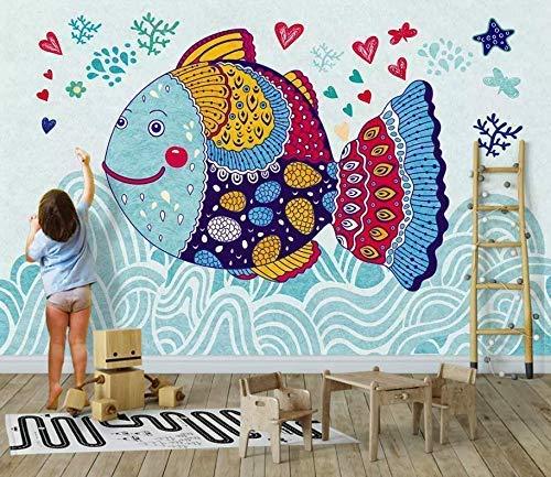 Amazon Com Murwall Kids Wallpaper Cartoon Fish Wall Mural