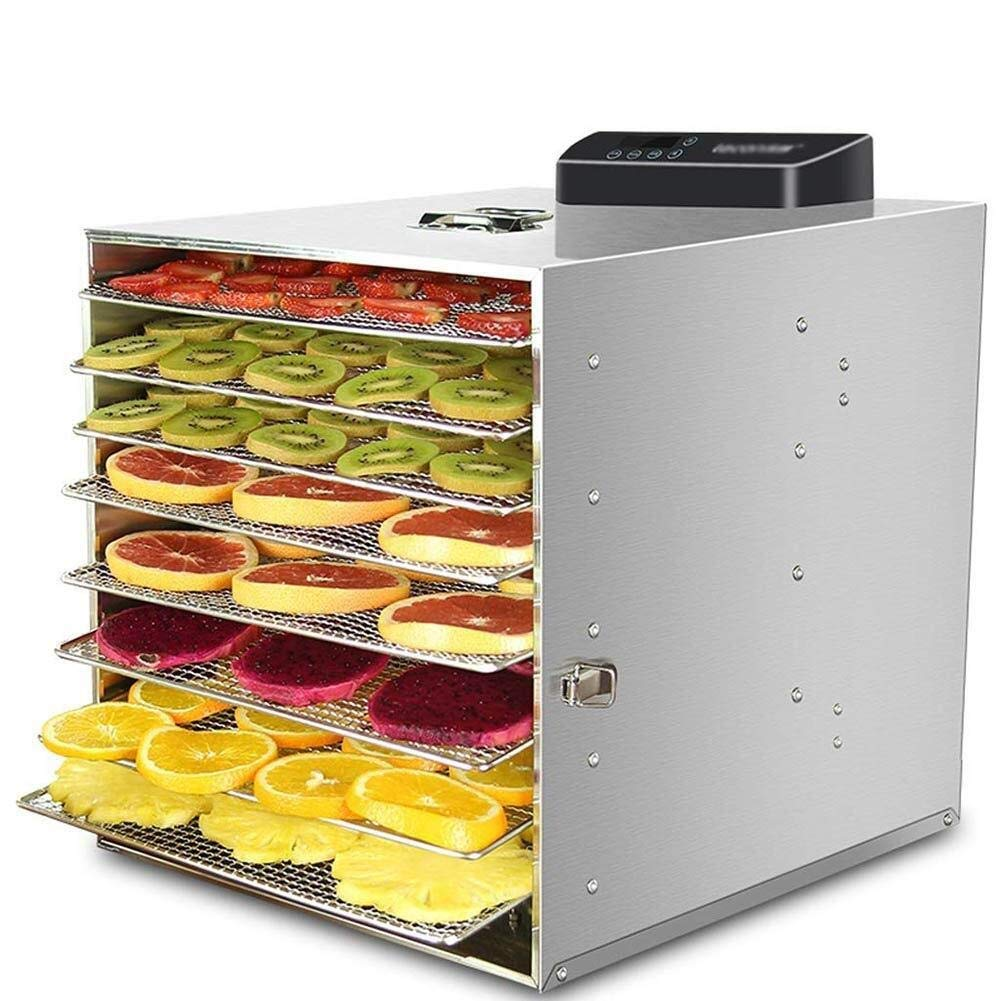 Food dehydrator 8 Tier Food Dehydrators Stainless Steel Dryer for Fruit, Vegetables and Meat with Adjustable Temperature Control and Timer 30-70°C 220V by ZTHUAYUAN