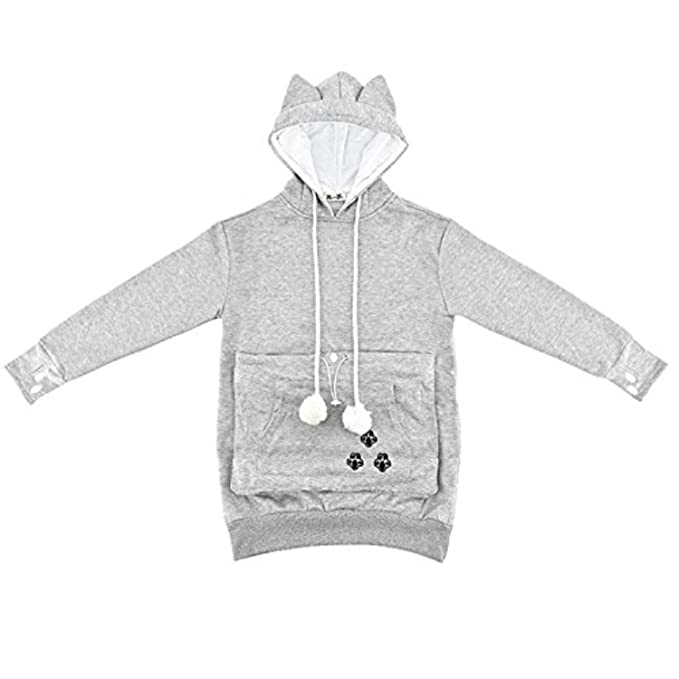 NeuFashion Hoodies Pet Holder Cat Dog Kangaroo Pouch Carriers Pullover Sweater, Grey, Large - Come discover Holiday Gift Guides from 7 of Your Favorite Bloggers!