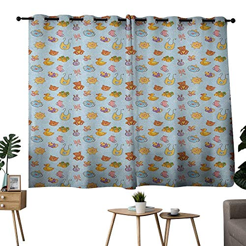 (Decor Curtains By Baby,Newborn Sun Teddy Bear Ribbon Feeder Pacifier Chick Kitty Cat Design, Pale Blue Cinnamon Apricot,Thermal Insulated Panels Home Décor Window Draperies for Bedroom 52