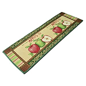 yazi Fabric Kitchen Mat Area Rug Fresh Picked Apples,47x18 Inches