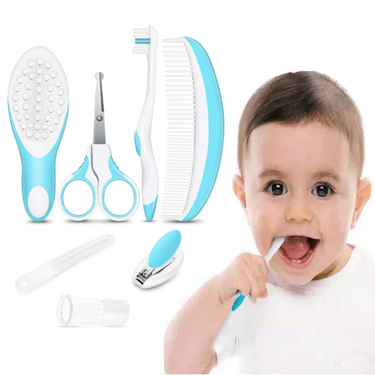 iRegro Babypflege Set – 7-teiliges Set für Baby alltäglich Pflege mit Etui (blau)
