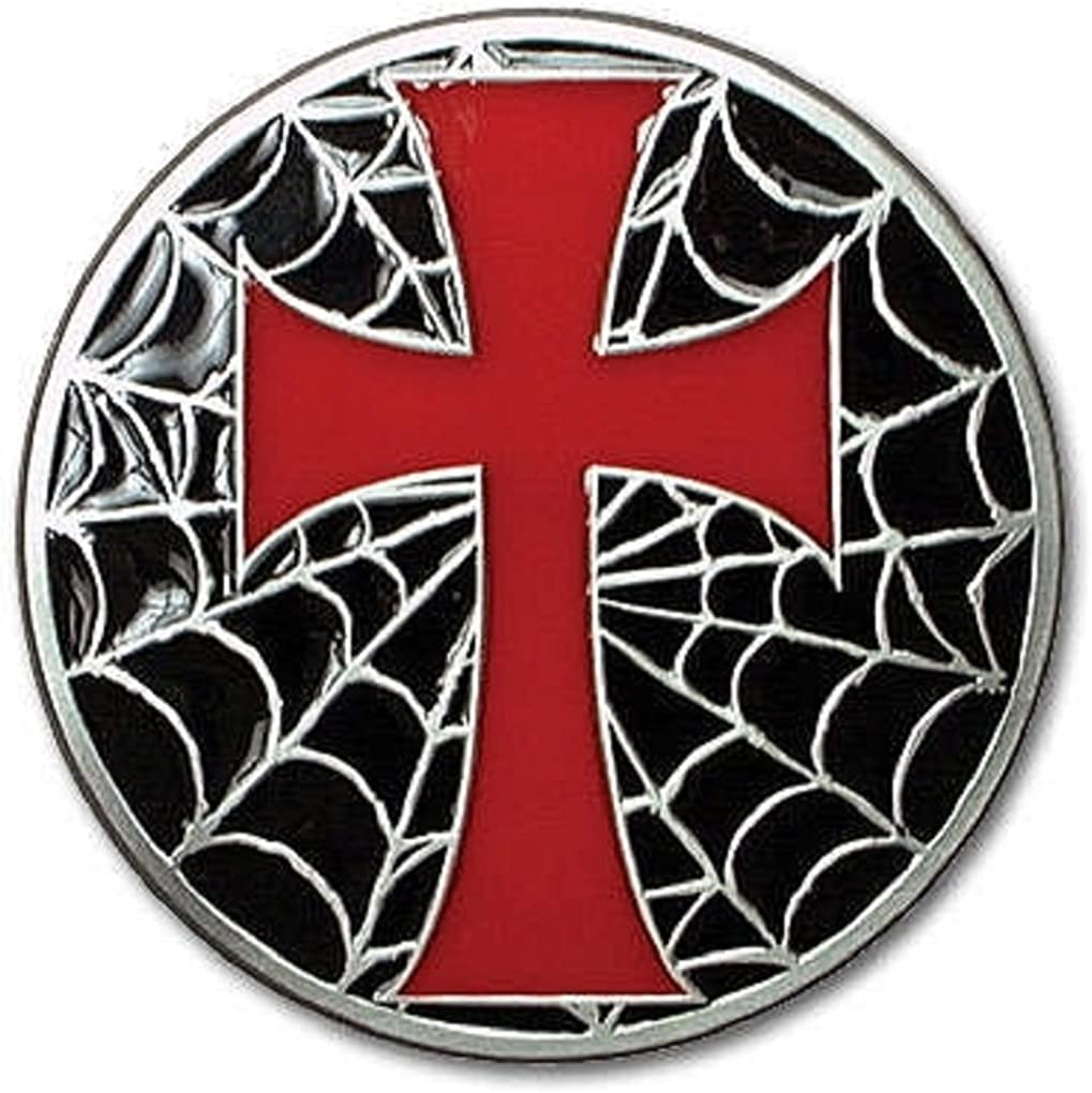 Red Cross with Spider Web Metal Belt Buckle