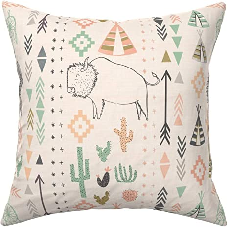 Native Headdress Southwest Throw Pillow Cover w Optional Insert by Roostery