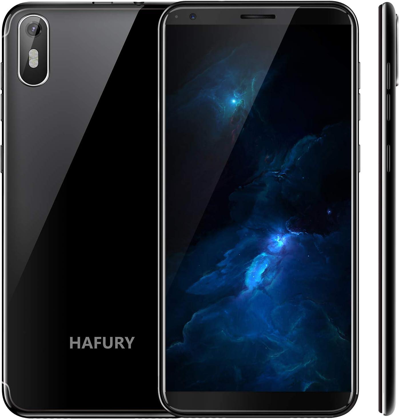 """Hafury A7 - Smartphone de 5.5 """" (18:9) Pantalla táctil Android 9.0 Teléfono Libre con Pantalla táctil, Dual SIM Dual Standby, 2GB RAM 16GB ROM, 8MP cámara trasera/5MP cámara Frontal, Negro"""