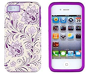 Sunshine Case 2in1 Hybrid High Impact Hard Lavender & Cream Floral Pattern + Purple Silicone Case Cover For Apple iPhone 4S & iPhone 4 + Sunshine Case Screen Cleaner