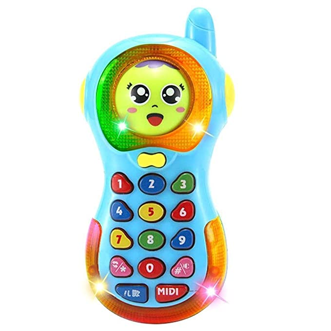 Metro Toy's & Gift  Smart Musical Changing Face Mobile Phone for Kids, Early Education Toys with Music and Light (Random Colour)