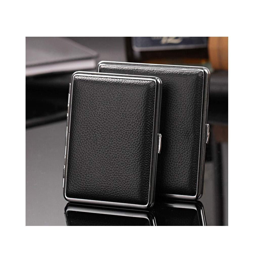 WalledKing Cigarette Case, Leather 14/16/20 Stick, Ultra-Thin Portable Retro Cigarette Box, Men's Birthday Gift, Moisture-Proof and Pressure-Proof Stainless Steel Cigarette Holder, Smoker