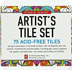 Calling all artists and crafters! Use these high-quality white tiles to create drawings and designs in pen, pencil, pastel, watercolor, and more.Set of 75 white Artist's Tiles.300 gsm card stock.Fine-tooth surface take pigment pen and other a...