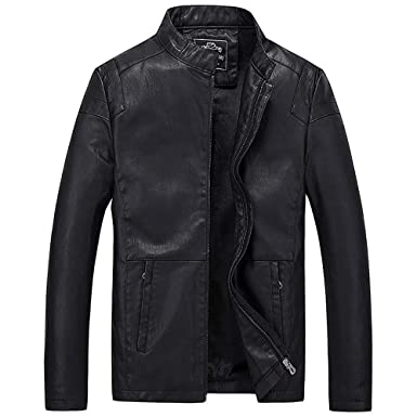 UOFOCO Cool Motorcycle Leather Jacket for Men Business Casual Zipper Coat and Fleece Facket