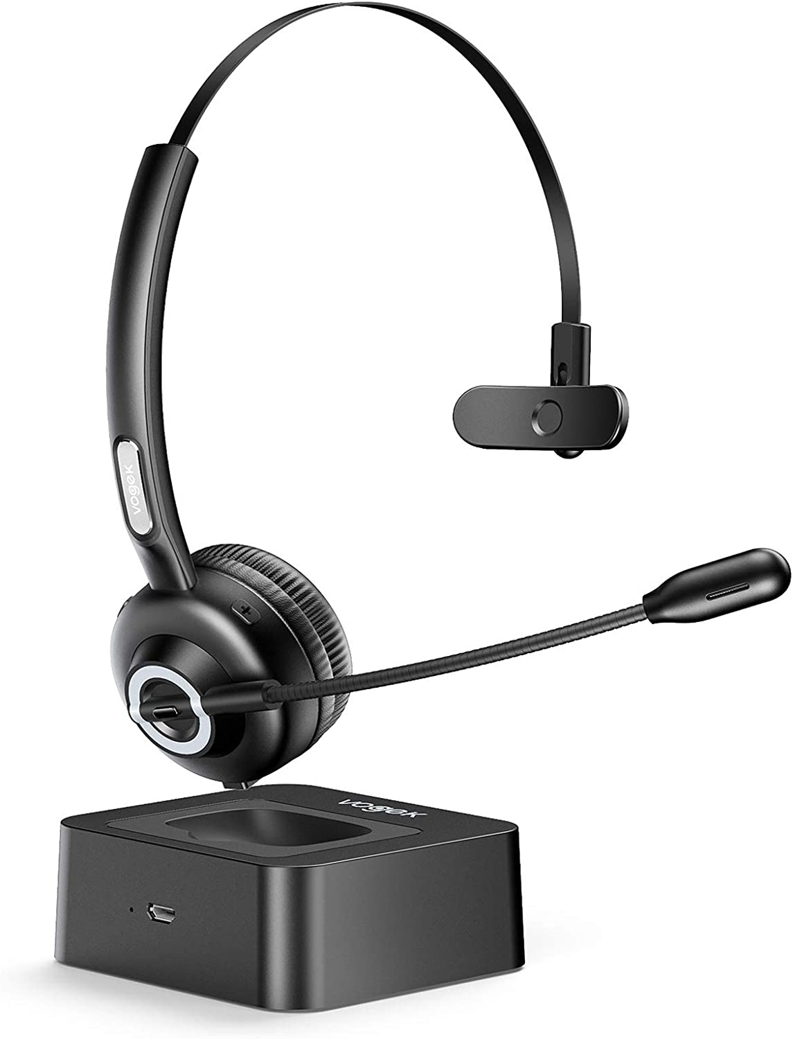 Trucker Bluetooth Headset with Microphone, Vogek Noise Cancelling Mic Wireless Headphones with Charging Base, Clear Hands-Free Comfort-fit Headset for Home Office Online Class PC Call Center Skype