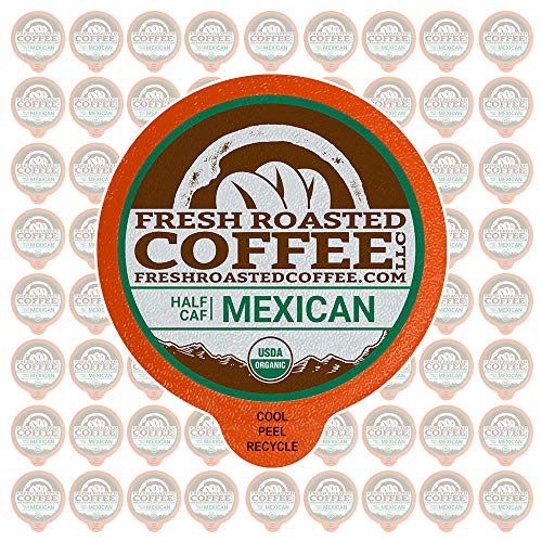 Fresh Roasted Coffee LLC, Swiss Water Half Caf Organic Mexican Coffee Pods, Medium Roast, Single Origin, USDA Organic, Capsules Compatible with 1.0 & 2.0 Single-Serve Brewers, 72 Count