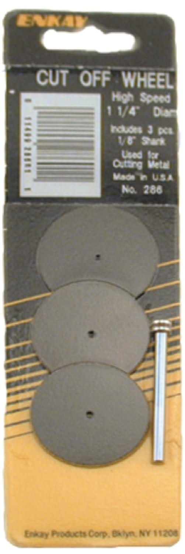 3-Piece 1//8-Inch Carded Enkay 286 1 1//4-Inch Cut Off Wheel