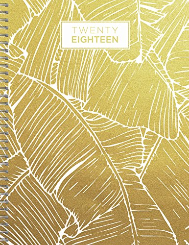 2018 Gold Botanical Palm Leaves 9x11 Daily Weekly Monthly Planner 9