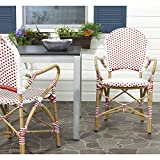 Safavieh Home Collection Hooper Red & White Indoor-Outdoor Stacking Arm Chair For Sale
