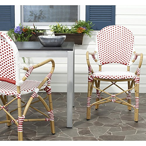 Safavieh Home Collection Hooper Red & White Indoor-Outdoor Stacking Arm Chair by Safavieh