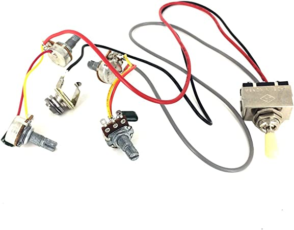 DISENS Guitar Wiring Harness Prewired 2v2t 3 Way Pickups Toggle Switch Jack 500k Pots for Electric Guitar