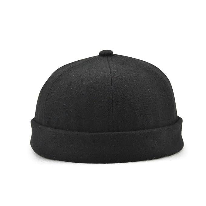 Men s Skullcap Docker Leon Beanie Cap Pure Cotton (Black) at Amazon ... 13302a6d489