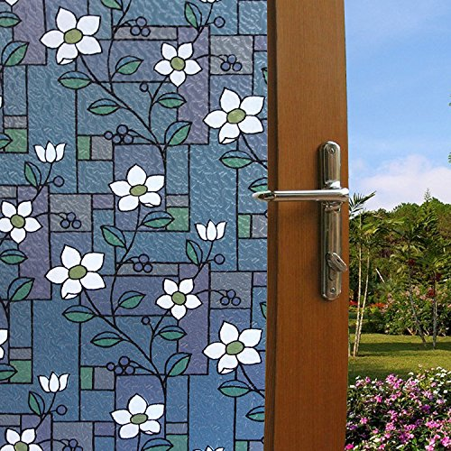 (Bloss Vinyl Non-Adhesive Decorative Window Film Stained Glass Color Flower Pattern Privacy Glass Film No Glue Anti-UV Window Sticker For Bathroom Bedroom Living Room 17.7 Inch x 78.7 Inch)