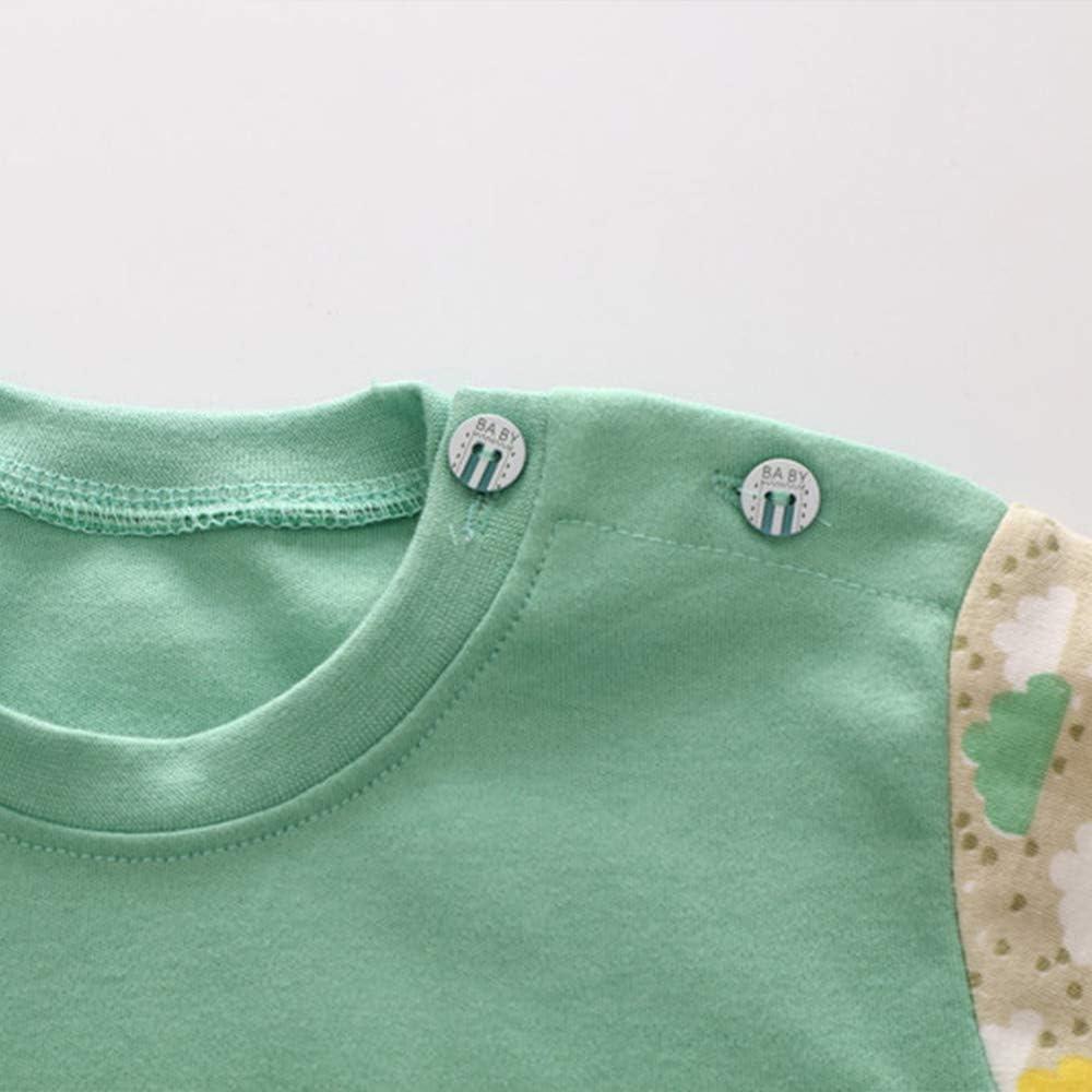 Magliette 2 Pezzi per 0-5 Anni Meiju Set di Cotone Manica Lunga Pigiami per Bambino Ragazzi e Ragazze del Neonato Caldo Indumenti Pigiama Autunno Invernali Pantaloni