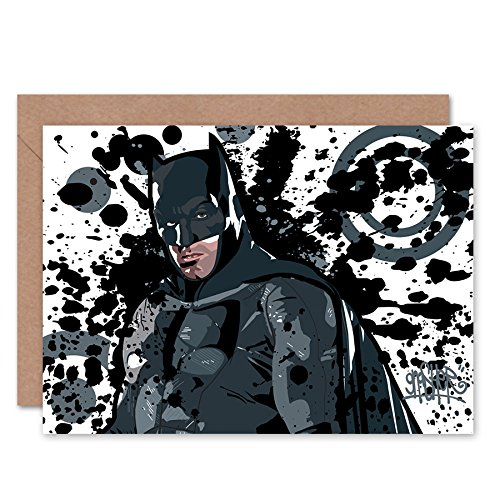 Wee Blue Coo Batman Graffiti Superhero Greetings Card (Batman Birthday Card)