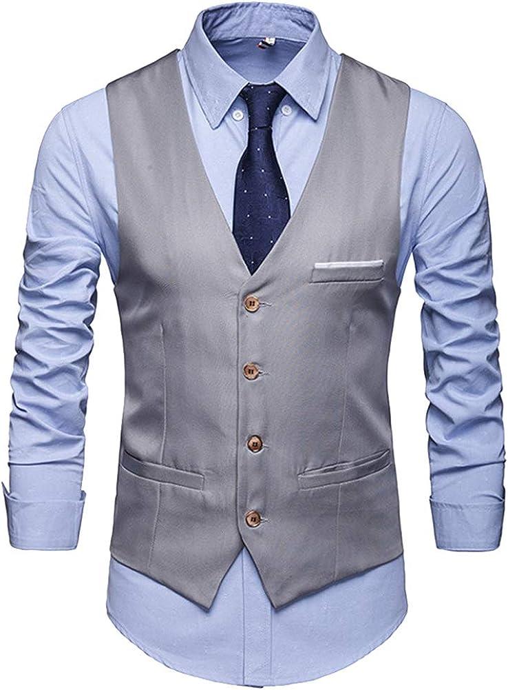 Homme Vintage Veste Casual Business sans Manche Slim Fit Gilet