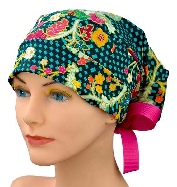 Amazon.com  Scrub Hats for Women - Small to Medium with Ribbon Ties ... 1903fc782670