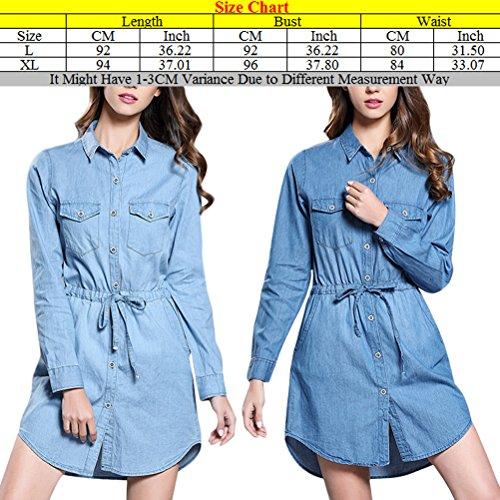 Zhuhaitf Popular Camisa de mezclilla especial Long Sleeves Dress Waist Denim Jean Tops Long Shirts Slim Fit with Rope para mujeres Light Blue