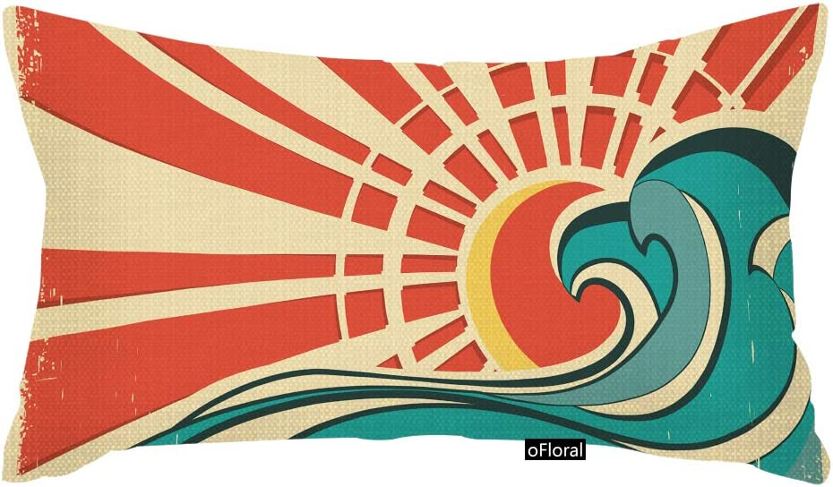 oFloral Throw Pillow Covers Blue Surf Sea Waves Vintage of Nature with Sun Retro Beach Throw Pillow Case Home Decor Rectangle Cotton Linen Pillowcase 12x20 Inches