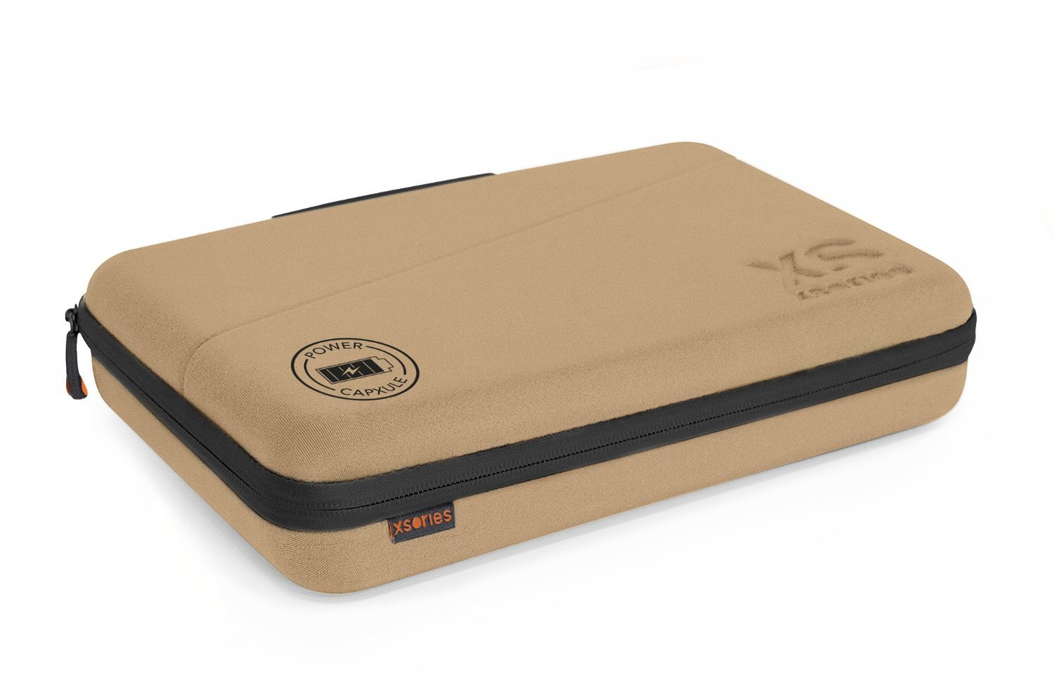 XSories Large Power Capxule GoPro Case with Power Bank Charger, Pre-Cut Foam Inlays for GoPro Accessories (Khaki)