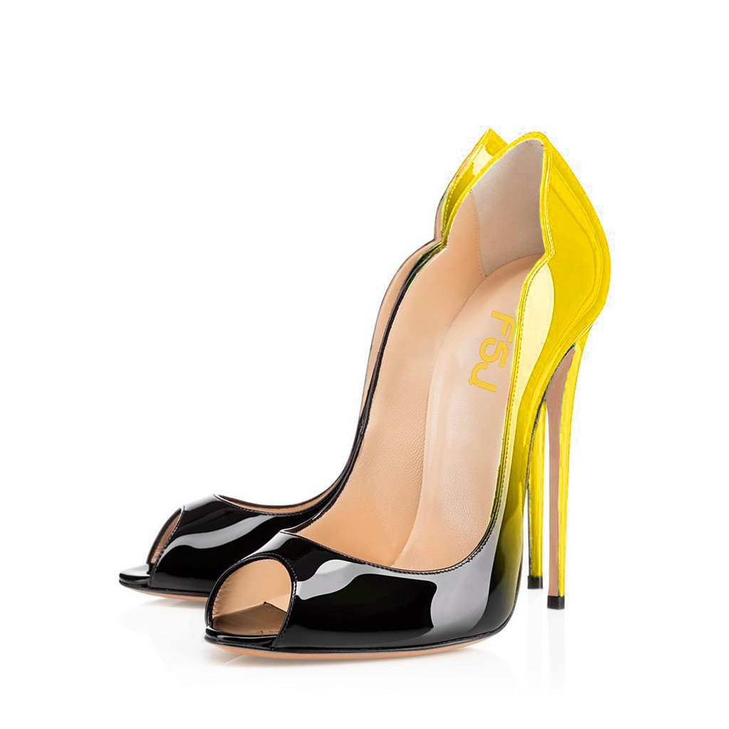 FSJ Women Slide Peep Toe High Heels Pumps Sexy Stilettos Patent Leather Shoes for Party Size 4-15 US B071QY6R96 14 B(M) US|Yellow-black
