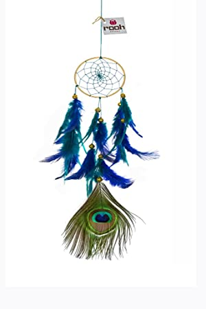 Rooh Dream Catcher ~ Peacock ~ Handmade Hangings for Positivity (Can be Used as Home D�cor Accents, Wall Hangings, Garden, Car, Outdoor, Bedroom, Key Chain, Meditation Room, Yoga Temple, Windchime)