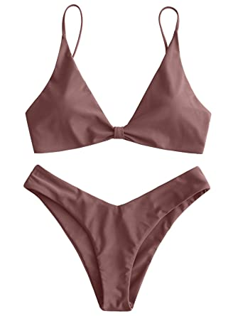 2bcbe967c98 ZAFUL Women's Plunging Knotted Front High Cut Thong Bikini Set Cami Strap  Padded Swimsuit Bathing Suits