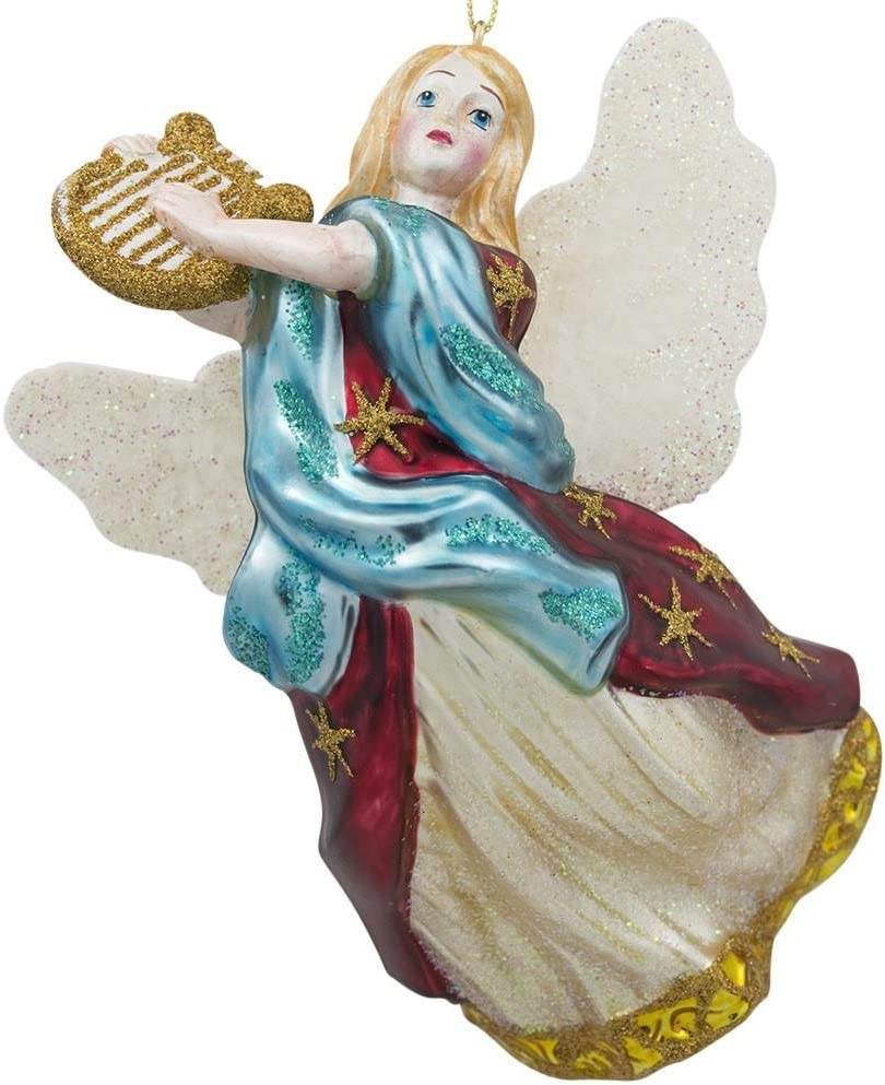 BestPysanky Angel Playing Music on Harp Glass Christmas Ornament 5.5 Inches