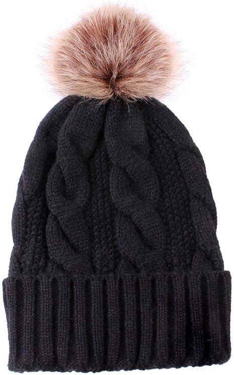 Plaid Women Baggy Knitted Knit Bonnet Warm Hats for Girl Men Faux Fur Winter Hat Caps