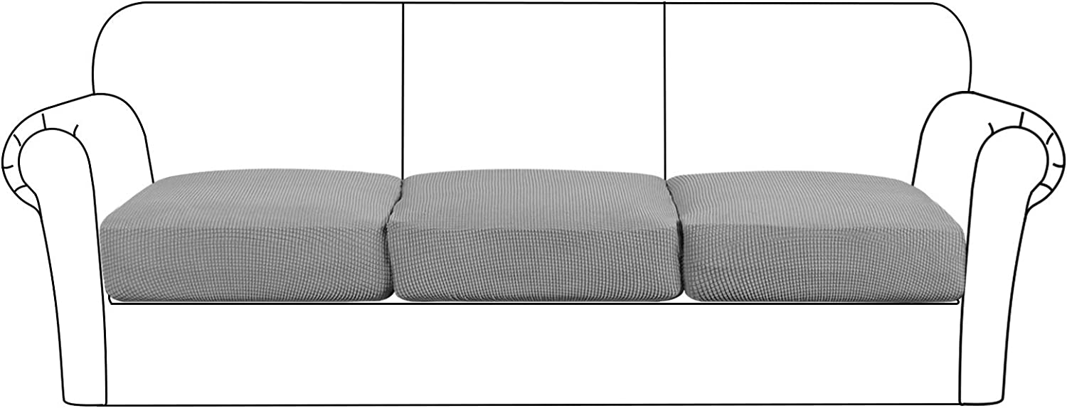 High Stretch Cushion Cover Sofa Cushion Furniture Protector for Sofa Seat Slipcover Sofa Cover Soft Flexibility with Elastic Bottom (3 Pieces Cushion Covers, Dove)