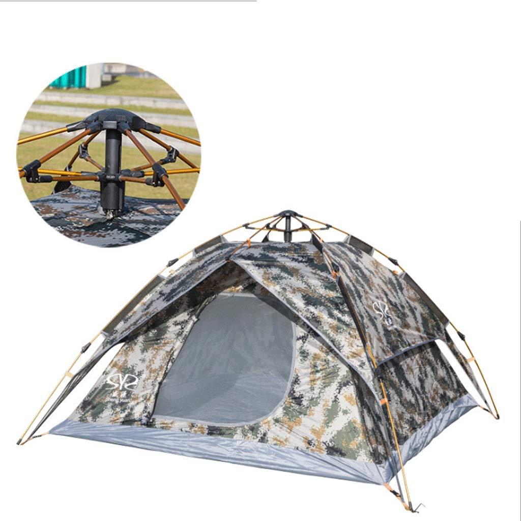 Zelt Im Freien Automatisch Frei Zu Bauen Geschwindigkeit Öffnen Double-Layer-Dual-Use-Tarnung Zelt Wasserdicht Regen Sonnenschutz Camping 3-4 Personen Zelt