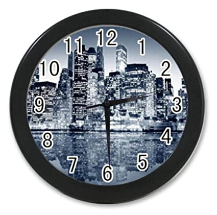 Bernie Gresham Midnight Silent City Inverted Reflection In Water  Skylines Custom Wall Clock Black