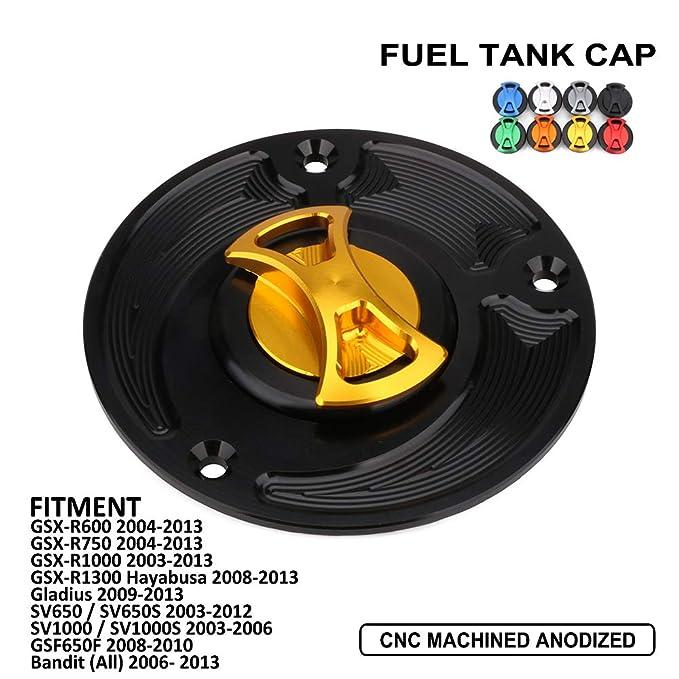 Gas Fuel Tank Cap Cover Motorcycle CNC Aluminum Billet Keyless Twist off for Suzuki GSX-R600 GSX-R750 GSX-R1000 GSX-R1300 Hayabusa Gladius SV650 S SV1000 S GSF650F Bandit Black