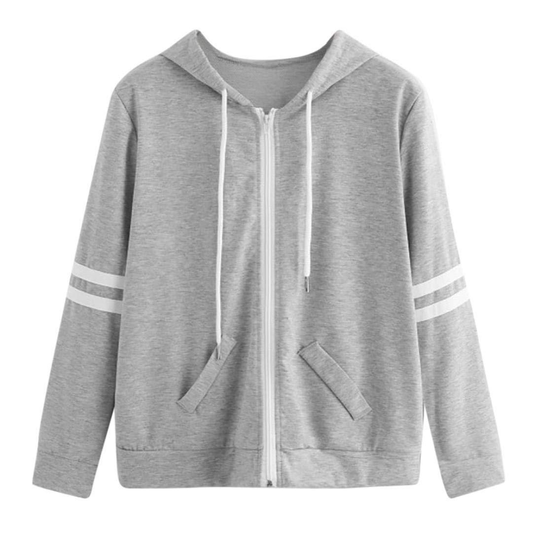 Pandaie Womens Jacket,Women Long Sleeve Patchwork Pocket Skinsuits Hooded Zipper Sweatshirt Sport Coat