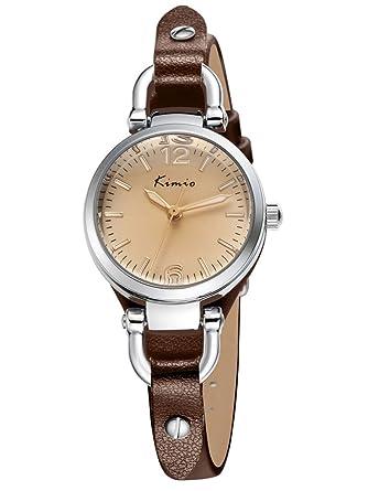 Armbanduhr damen leder braun  Alienwork Quarz Armbanduhr Armreif Kette wickeln Uhr Damen Uhren ...