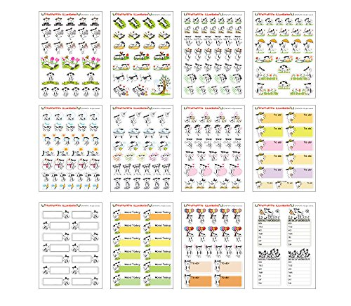 Dog planner sticker - 12 Sheets Size 4 X 5.5 Inch (Weather Stickers)