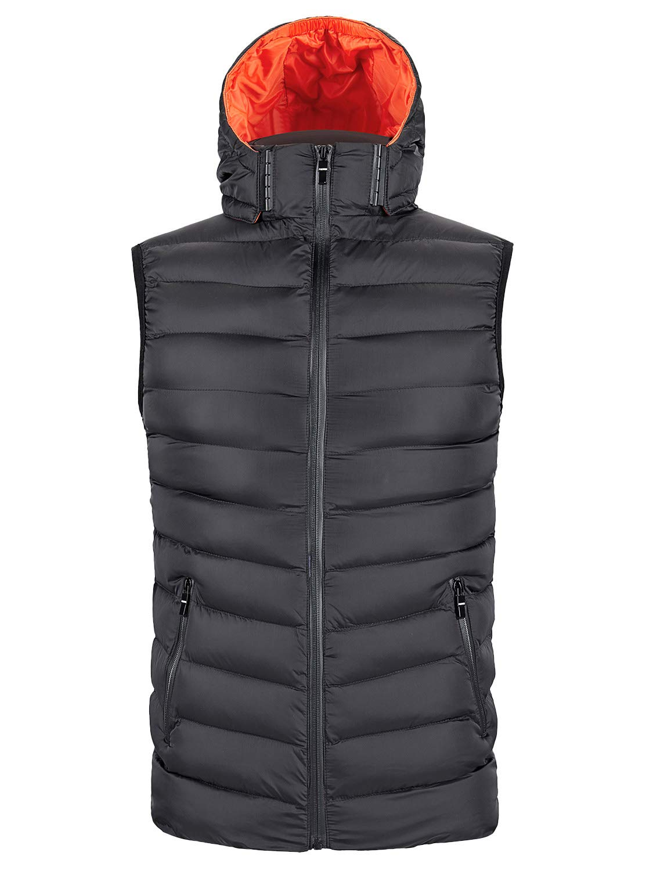 ZITY Men Padded Vest Sleeveless Puffer Jacket Removable Hooded Winter Outwear Black and Orange Medium by ZITY