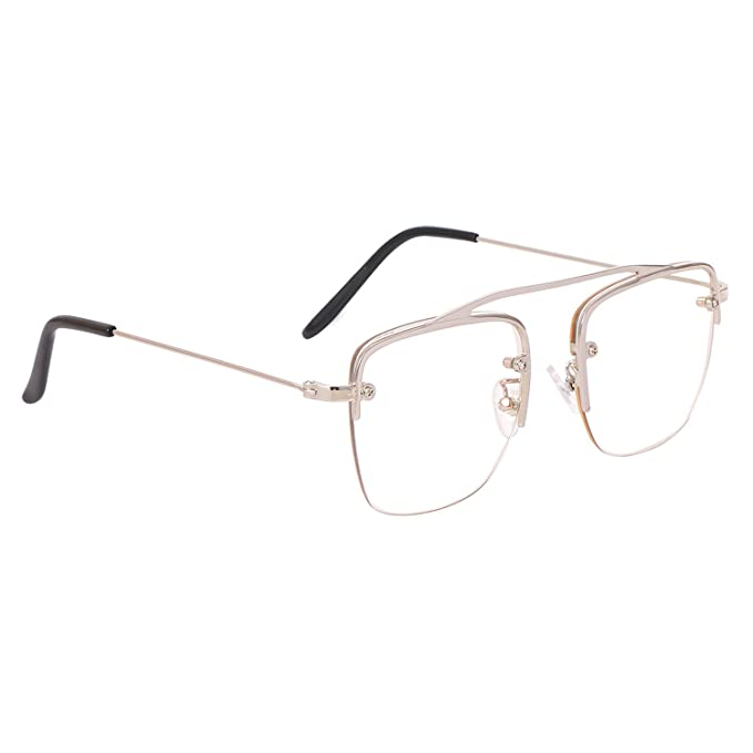 427767e153 Aye Roof Silver Square Raees Frames For Men (UV Protected) (Medium Size)   Amazon.in  Clothing   Accessories