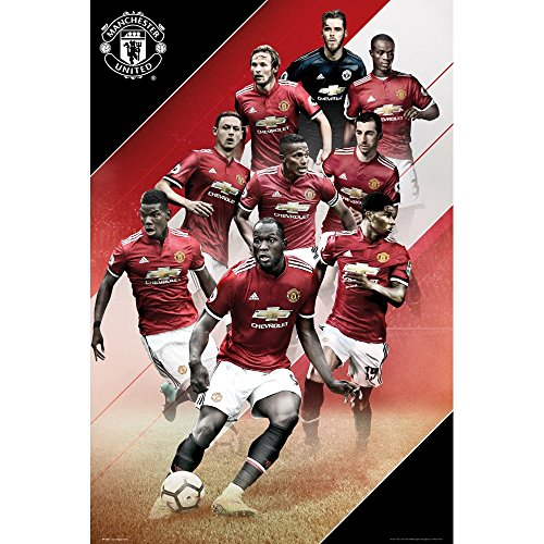 2017-18 MANCHESTER UNITED PLAYERS COLLAGE WALL POSTER 24' x 36' POGBA, RASHFORD, DE GEA & MORE! OFFICIALLY LICENSED SHIPS FROM USA