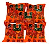 5Pcs-100Pcs Amazing India Orange Patchwork Elephant Design Home Decor Cushion Covers Wholesale Lot