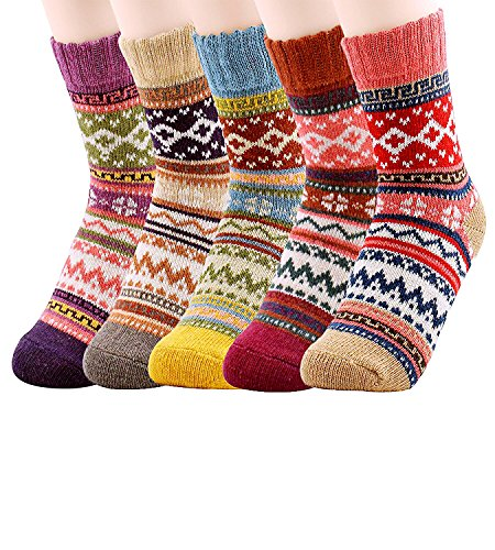 NXET Pack of 5 Womens Vintage Style Thick Wool Warm Winter Crew Socks Chrismas Socks
